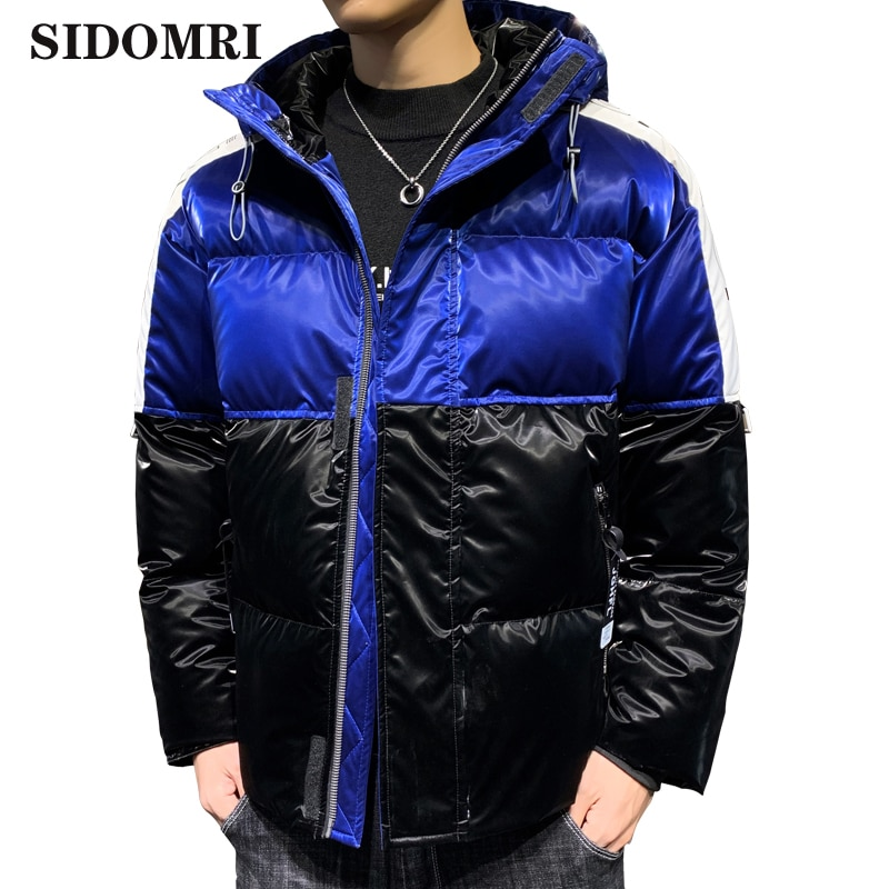 Down jacket men new winter trend is cool popular logo keep warm  lightweight short  thick overalls  glossy coat and down jackets