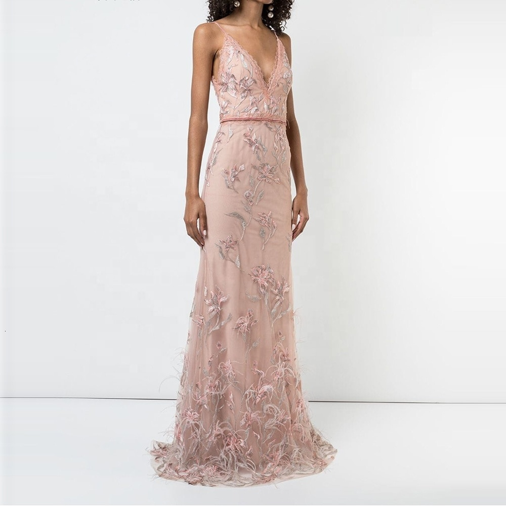 Robe de soirée rose Appliques Tulle profond col en V broderie milieu Dressing haut herbe longues robes