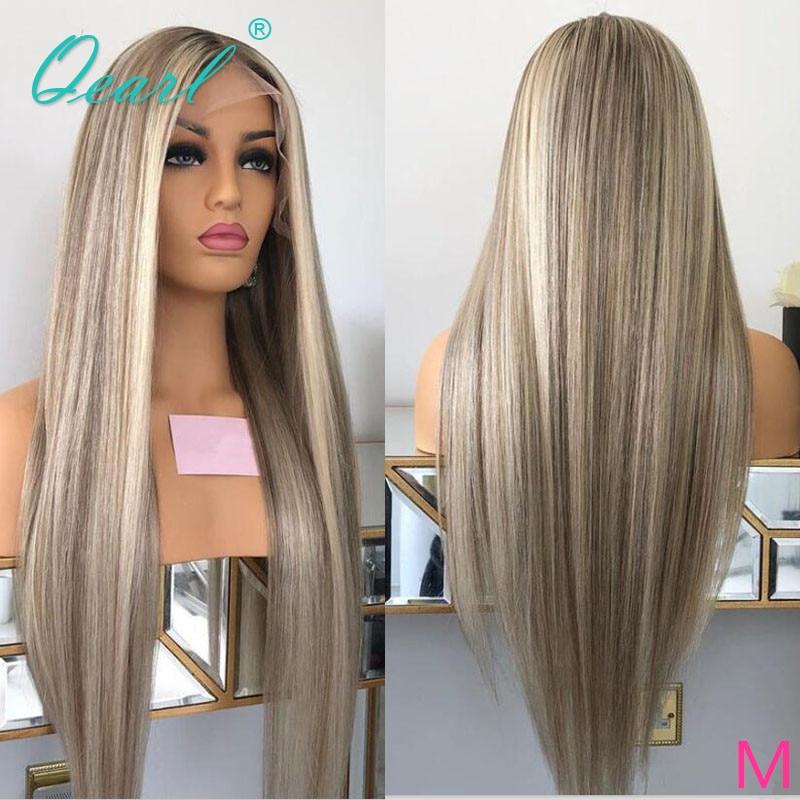 باروكة دانتيل كاملة طبيعية ، شعر مستعار رمادي أشقر ناعم مع انعكاسات ملونة ، شعر ريمي 130% 150% منتف مسبقًا ، خط الشعر Qearl