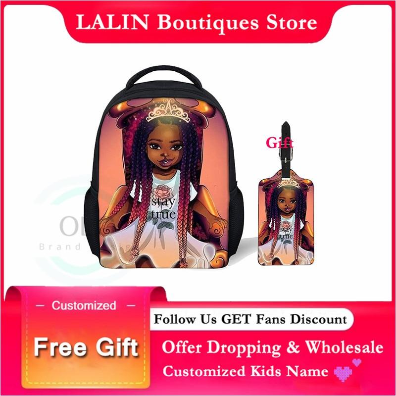 LALIN noir reine afro-américaine filles impression sac décole pour enfant en bas âge filles sac à dos enfants enfants cartables personnalisés