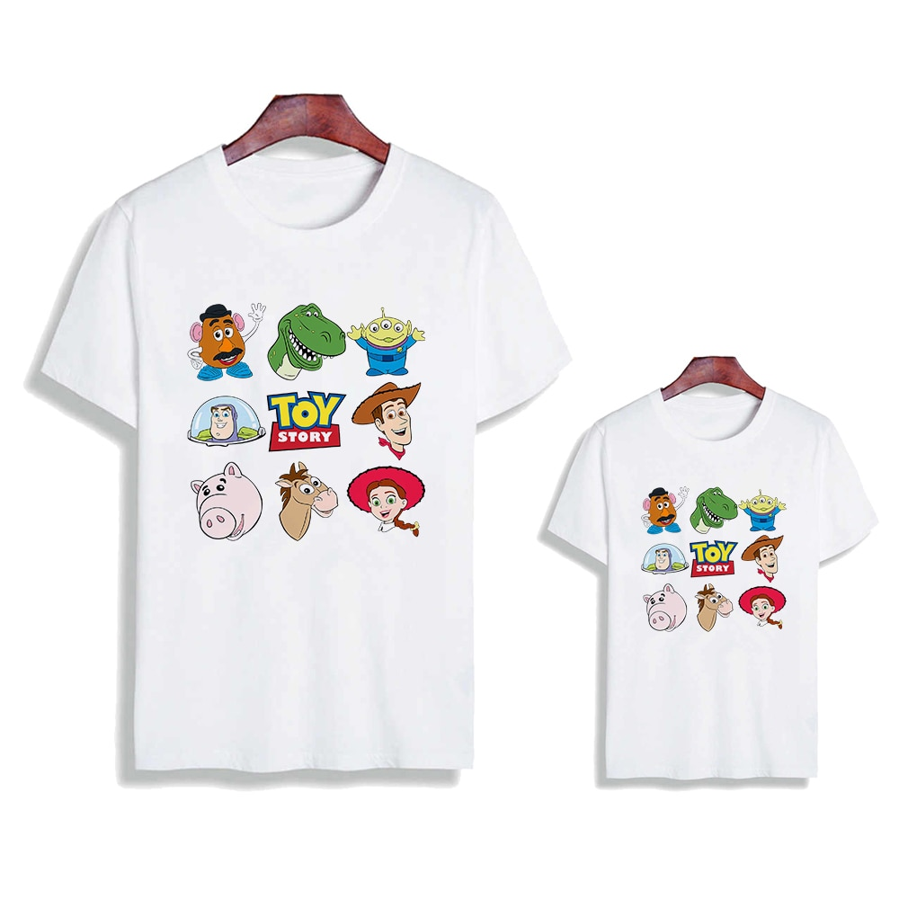 Harajuku Women Men Famliy Look Tshirt Tees Loose Casual T Shirt Brothers and Sisters Children Toy St