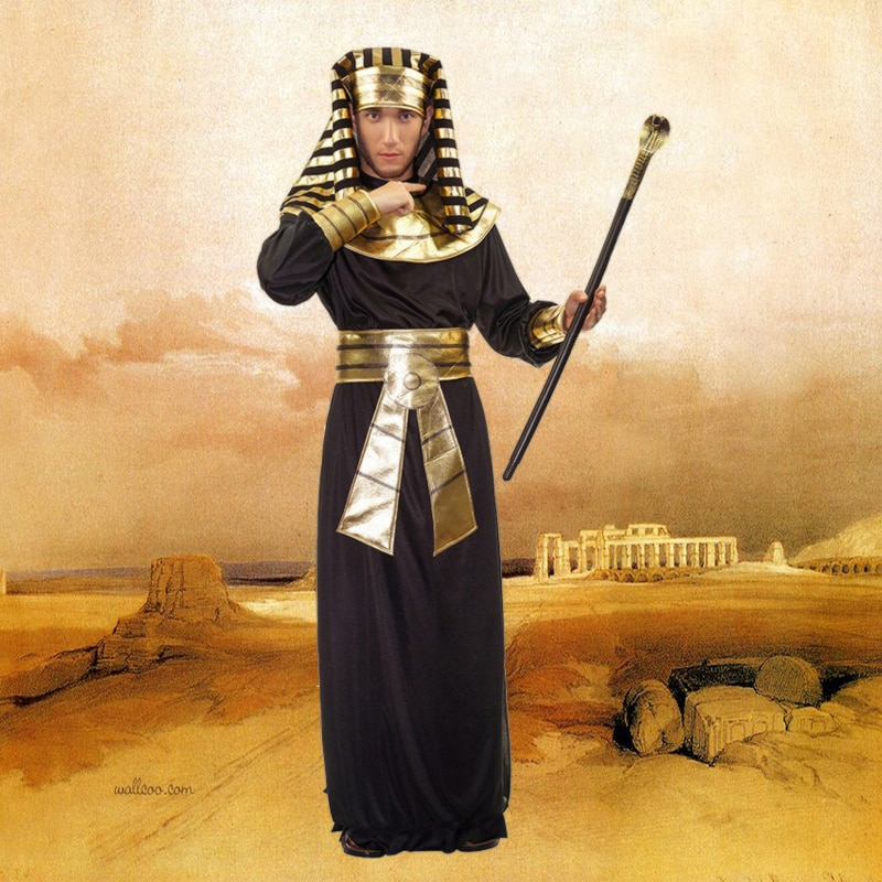 Egyptian Costume Men Pharaoh King Priest Robe Cosplay Costumes Halloween Party