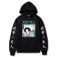 attack on titan japanese anime printed hoodies kawaii levi hoodie men vintage streetwear pullover male fashion casual clothing