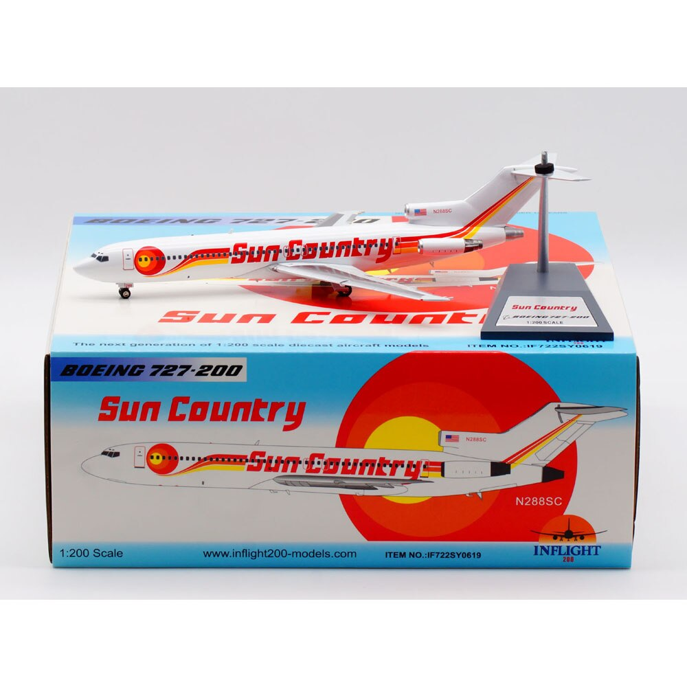1:200 Alloy Collectible Plane INFLIGHT IF722SY0619 Sun Country Airlines Boeing 727-200 Diecast Aircarft Model N288SC With Stand