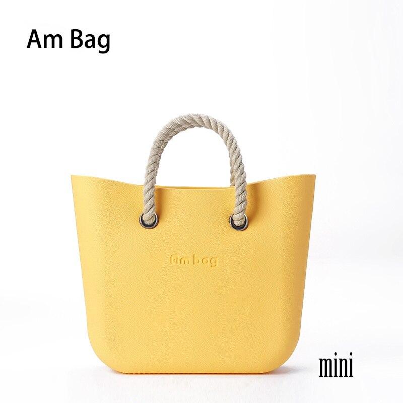 AMbag Obag O حقيبة نمط مقاوم للماء صغيرة مع إدراج بطانة جيوب الداخلية قصيرة مقابض حبل فتاة النساء Handbags بها بنفسك حقائب اليد