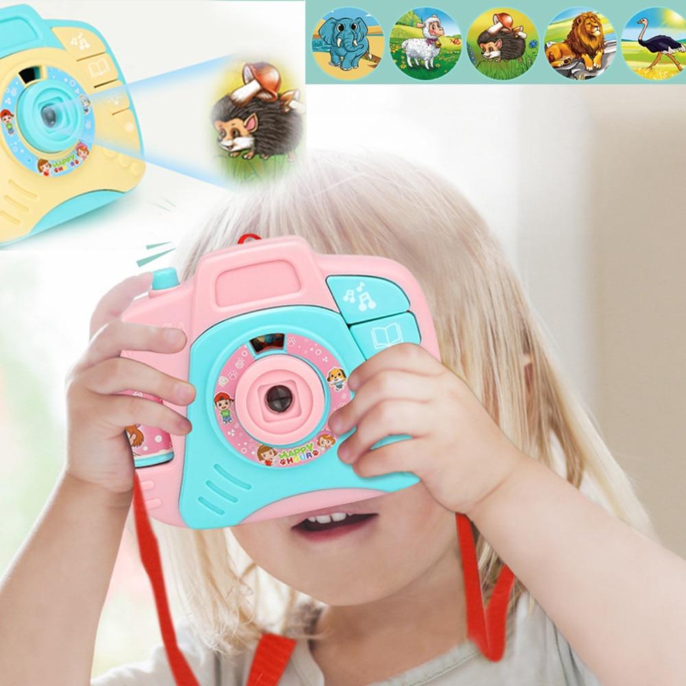 Дети проекционная камера Электрический мини моделирование звук и свет проекционная камера игрушки мультфильм пластиковые Обучающие игруш...