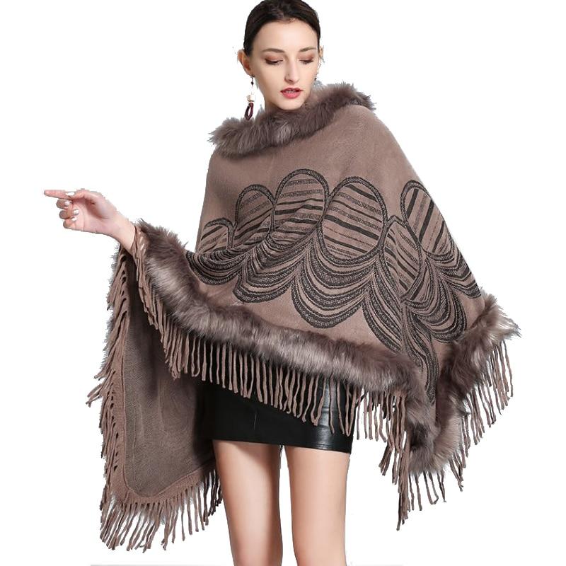Women Winter Coats Batwing Fluffy Sleeve Capes Elegant Jacket Lady Woolen Overcoat Fox Fur Collar Warm Ponchos