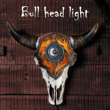 2021 Amerikaanse Bullhead Nachtlampje Bar Woonkamer Woondecoratie Ambachten Wanddecoratie Standbeeld Hars Dropshipping