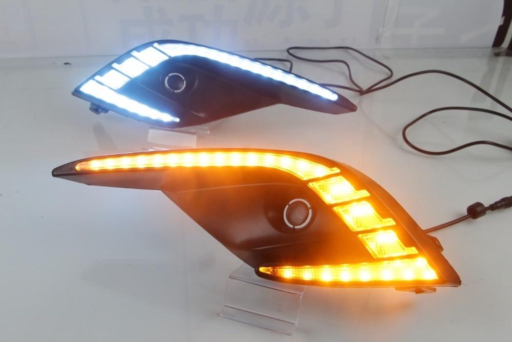 Tres colores blanco/amarillo/azul hielo LED DRL Luz de circulación diurna Luz de señal de giro para Mazda 6 Atenza 2017-2018