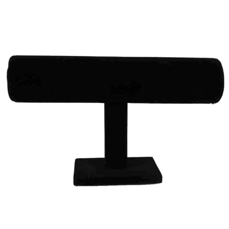 Expositor en T de terciopelo negro para pulsera, collar de cadena, soporte para reloj para hombre y mujer, expositor organizador de joyería de moda