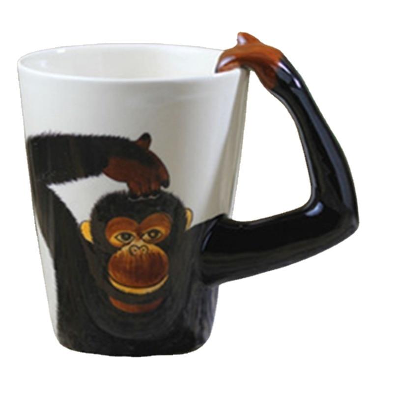 Ceramic Coffee Milk Tea Cup Waterware Cartoon Cute Orangutan Mug Red Wine Beer Champagne Glasses Kids Bottle Reusable Drinkware