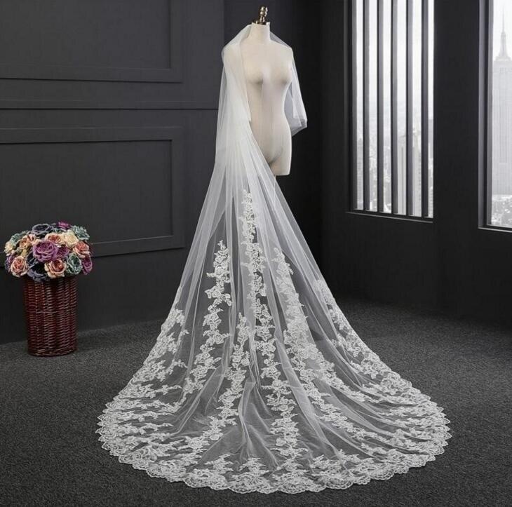 Blanco/Marfil 2T velo de novia Catedral 3M de largo Vail velos de encaje brautschleier de noiva