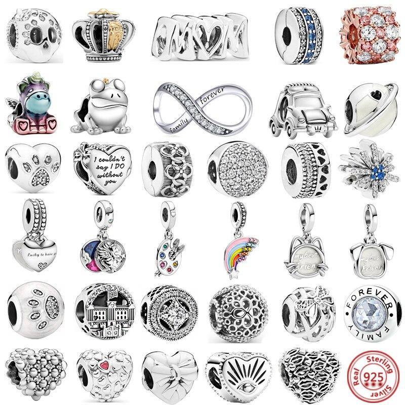 Реальные 925 серебряный шарм Красочные Единорог Радуга кулон семья Forever Love бусины, подходят к оригиналу Pandora, браслет для женщин, сделай сам, ю...