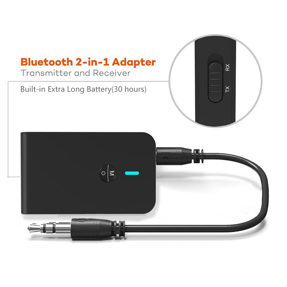AptX Bluetooth Transmisor receptor 2 en 1 Adaptador de Audio inalámbrico baja latencia 5,0 para auriculares de TV de coche altavoz 3,5 MM Aux Jack