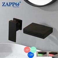 ZAPPO robinet de baignoire  mitigeur de lavabo de salle de bains a montage mural  robinet de baignoire en laiton massif noir mat  cascade