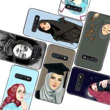 Islamski muzułmanin Hijabi dziewczyny kobiety sztuka czarny etui na telefony do Samsung Galaxy S20 Ultra S10E uwaga 10 9 8 S9 S8 J4 J6 J8 + Plus Lit