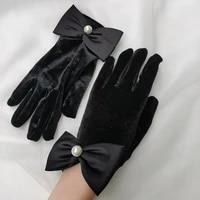 gloves women winter elegant mittens pearl gloves female driving gloves warm pearl gloves ladys bow gloves winter gloves
