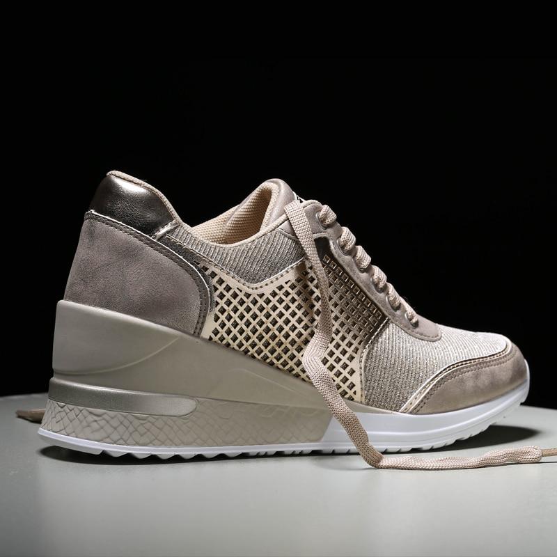 Frauen Walkig Schuhe Damen 6,5 cm Höhe Zunehmende Sportschuhe Turnschuhe Outdoor Lightweitht Laufschuhe Frühling Sportlich Gym Trainer