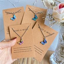 Korean Fashion Colorful Cute Butterfly Pendant Necklace For Women Golden Color Statement Necklace Je