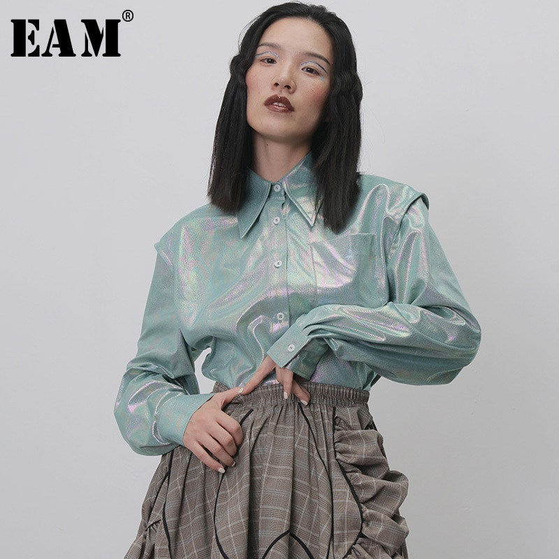 [EAM] camisa holgada de manga larga con solapa nueva y brillante para mujer, moda Primavera otoño 2020 1H268