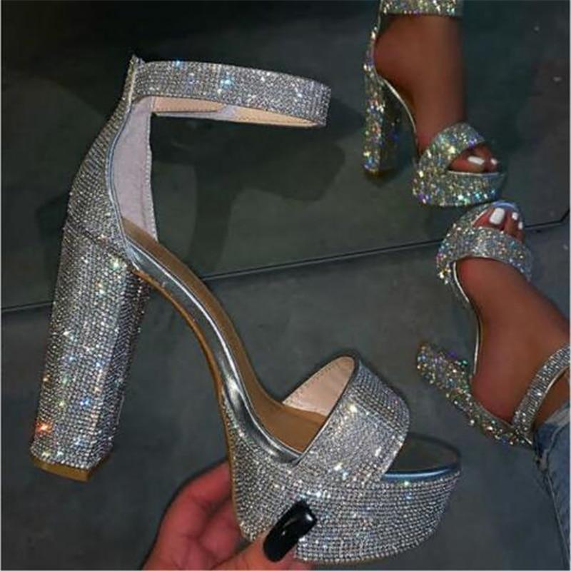 Sandalias de cristal de imitación de moda para mujer, zapatos de tacón alto con correa de hebilla, zapatos con punta abierta para mujer, tacones cuadrados, sandalias para mujer, boda