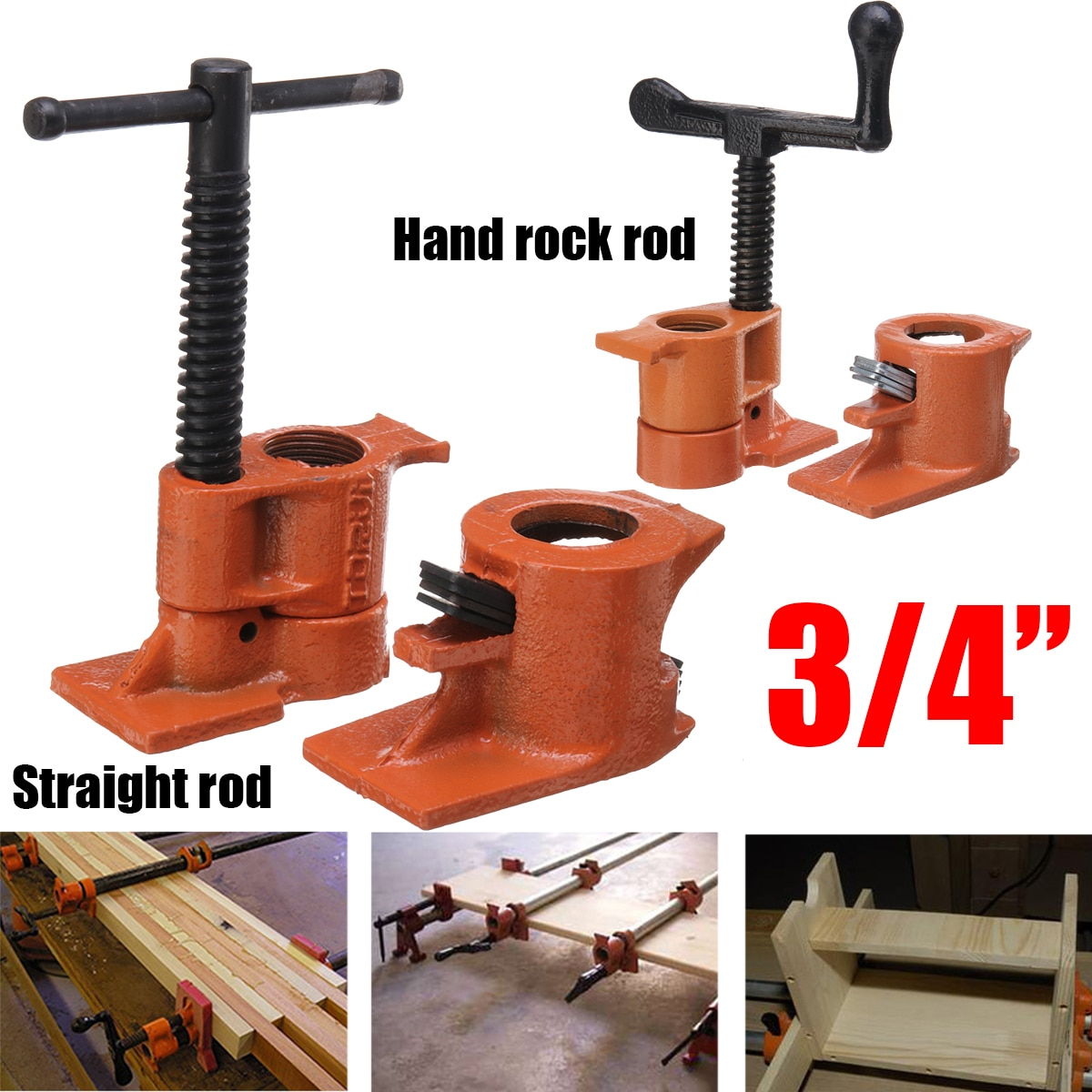 3/4 Inch Heavy Duty Pipe Clamp for Woodworking Wood Gluing Pipe Clamp Steel Cast Iron Pipe Clamp Fix