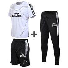 2020 hommes vêtements de sport nouvel été 3 pièces costume hommes à manches courtes T-shirt haut + shorts + pantalon de sport décontracté costume salle de sport en cours dexécution