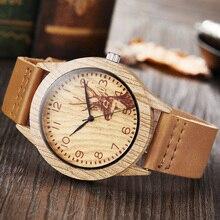 Reloj Hombre 2020 Design de mode cerf montre hommes bois montres bracelet en cuir souple Quartz montres horloge bas prix livraison directe