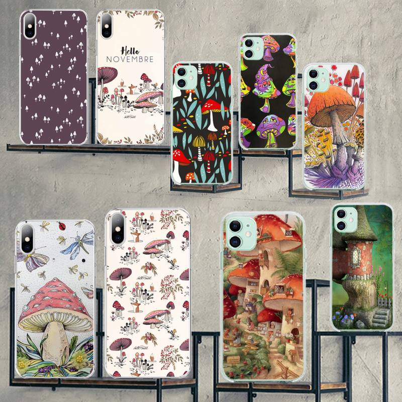Cacto e cogumelos cutewanan elegante foto feita sob encomenda caso de telefone macio para iphone 11 pro xs max 8 7 6 s plus x 5S se 2020 xr capa