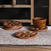 ebony potholder pad kung fu tea coaster wooden pad coffee mat cute lotus root coaster anti scald table mat kitchen accessories