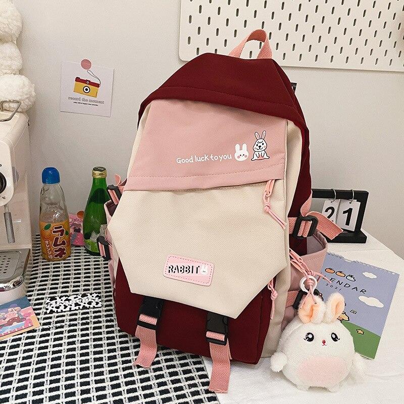 2021 جديد إمرأة عادية Morandi اللون حقائب الظهر المرقعة الإناث سعة كبيرة حقيبة سفر مقاوم للماء حقيبة مدرسية للفتيات في سن المراهقة