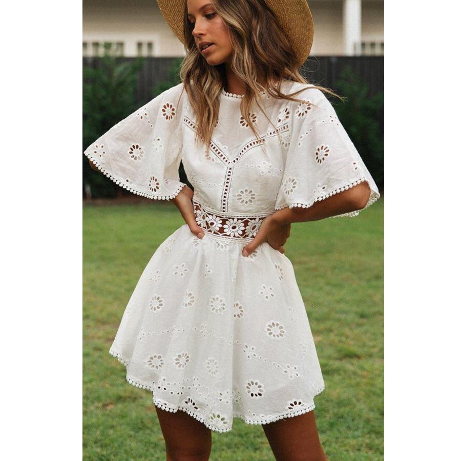 TEELYNN vestido de encaje blanco algodón boho bordado Floral vestidos de verano para las mujeres vestidos de manga corta mini Vestido de playa Bohemia