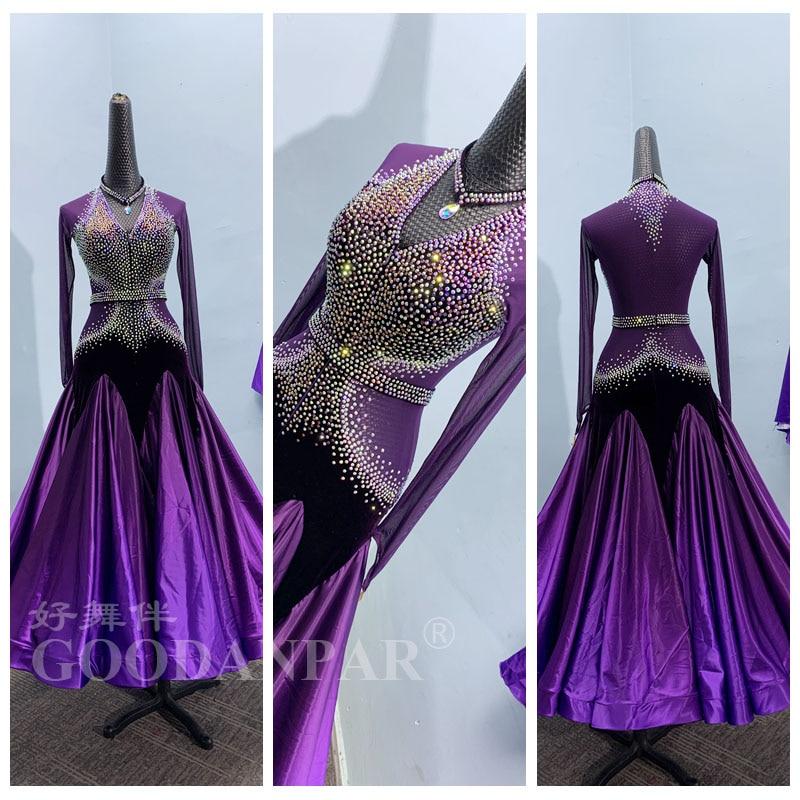 GOODANPAR-فستان رقص قياسي للنساء والفتيات ، فستان مسابقة ، بدون أكمام ، ليكرا ، الفالس ، متدرج ، 2020