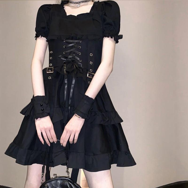 Harajuku negro puro manga corta vestido con cordón mujeres 2020 lady street casual ruffles simple bodycon mini vestidos