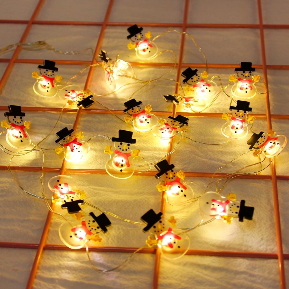 FENGRISE Snowflakes Snowman LED String Fairy Lights Garland Christmas Decorations for Home Battery Powered Holiday Lighting