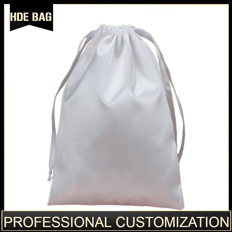 Bolsas de pelo de satén con logotipo personalizado y tamaño, cinta con cordón, extensión de pelo de seda, bolsas de embalaje, bolsas para zapatos, bolsa de almacenamiento de tela