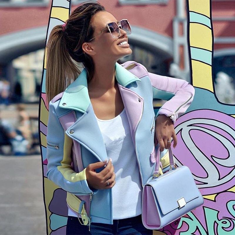 Abrigo de otoño 2019 para mujer, chaquetas con cremallera en Diagonal empalmada Multicolor, diseño de Charretera para mujer, abrigo básico para mujer