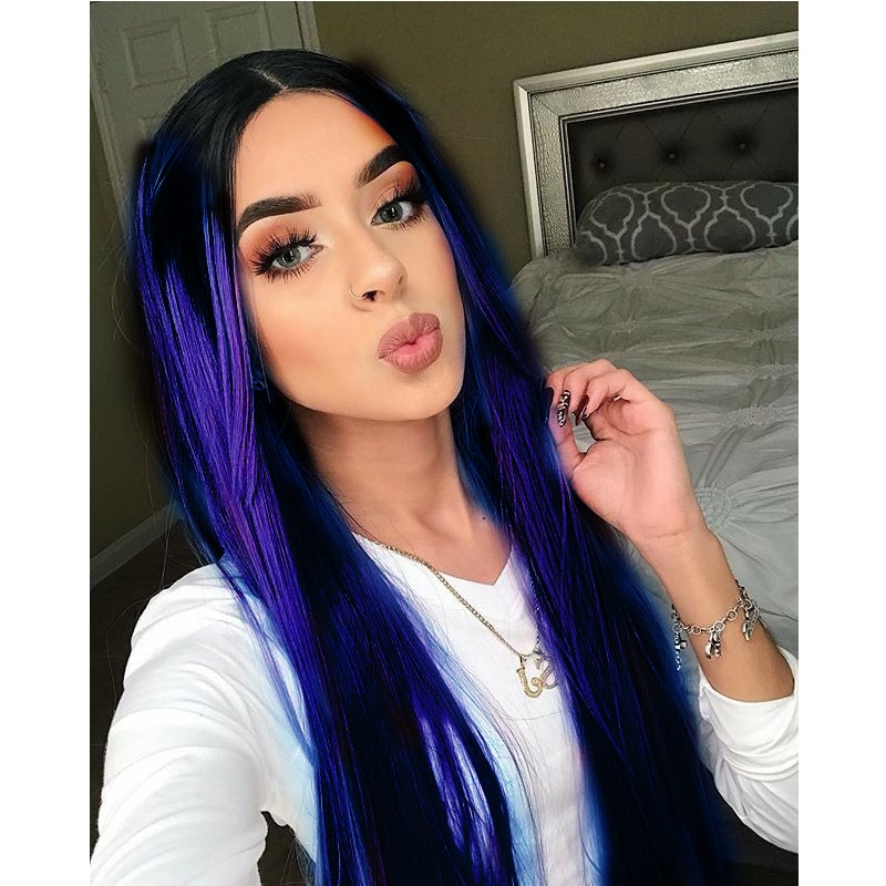 Ombre Red Wig Lace Front Wigs for Women Long Straight Red Synthetic Hair Wig Cosplay Dark Blue Green Neon Green Brown Orange Wig
