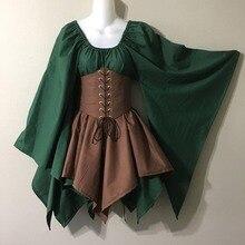 Costume da donna elfo medievale fata elfo Cosplay Wench Celtic Princess abito formale vita alta gonne da festa Cincher Top corsetto Set