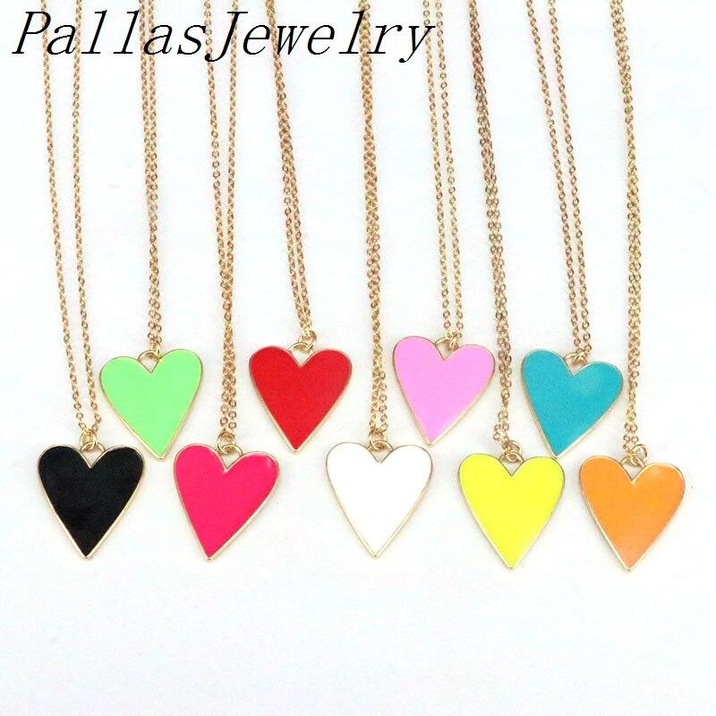 10 قطعة حلية قلب النيون ، المينا القلب قلادة قلادة باللون الأزرق أحمر أبيض أخضر أصفر برتقالي