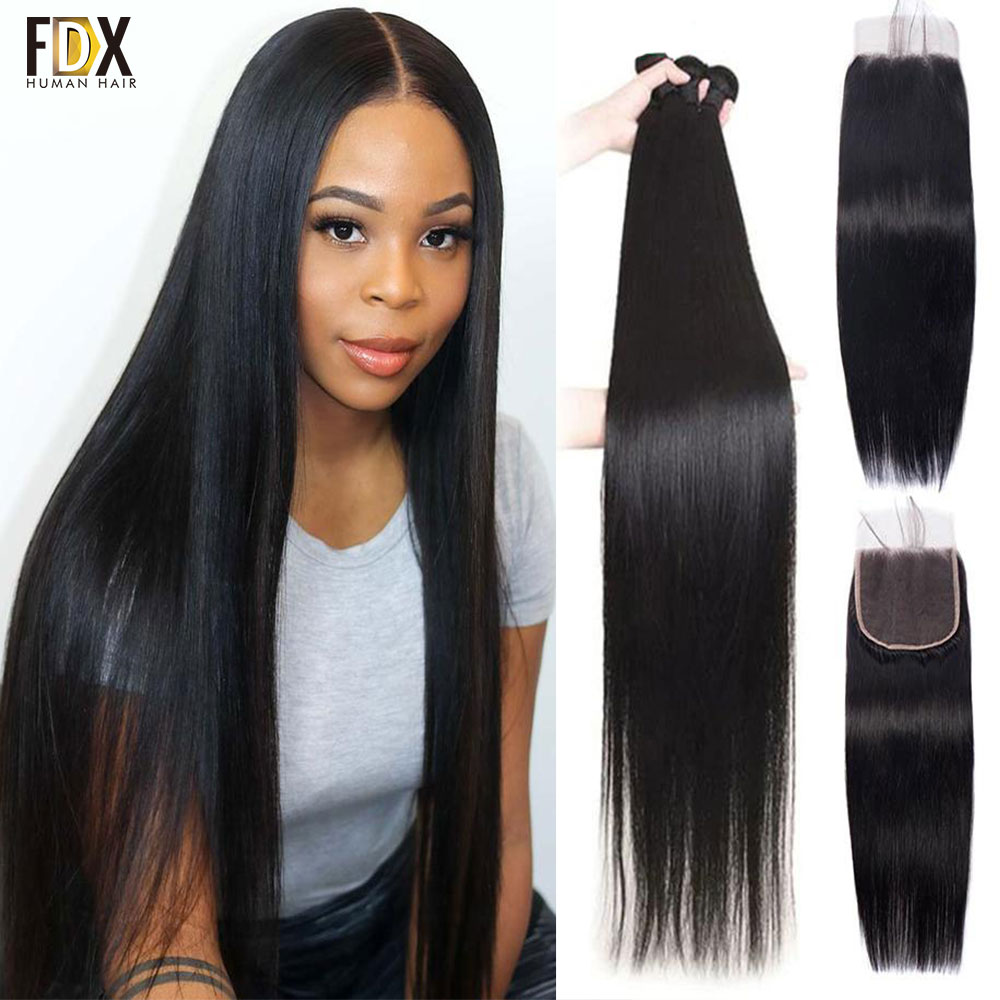 FDX-وصلات شعر طبيعية ناعمة ، مجموعة من 3 شرائط ، 4 × 4 ، 28 و 40 بوصة ، نسج الدانتيل
