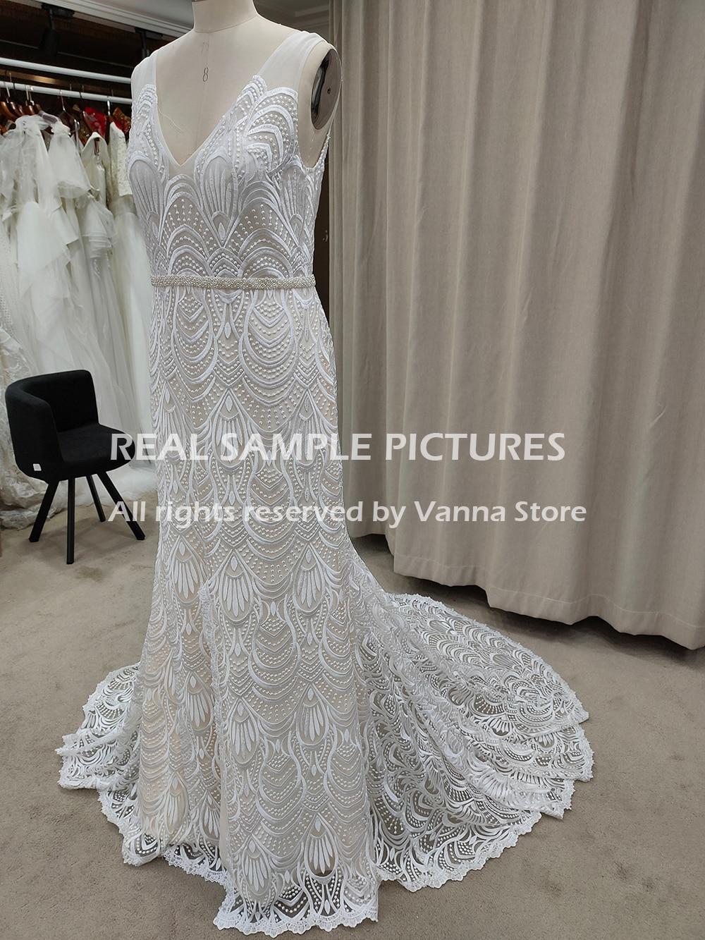 Outdoor Boho Lace V Neck Wedding Dress Sleeveless 2021 Backless Low Slit Custom Made Plus Size Beading Sash Bridal Gown 10079