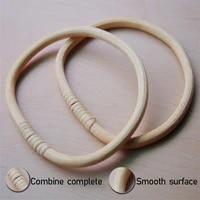 1 pair d round shape bamboo handle diy handmade women handbag tote purse handles rattan wooden bag accessories replacement