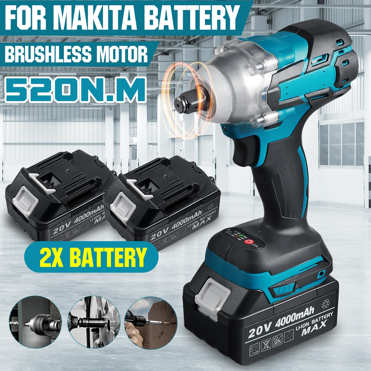 20V Brushless Electric Impact Wrench 520N.m Rechargeable 1/2 Socket Cordless Wrench Screwdriver Powe