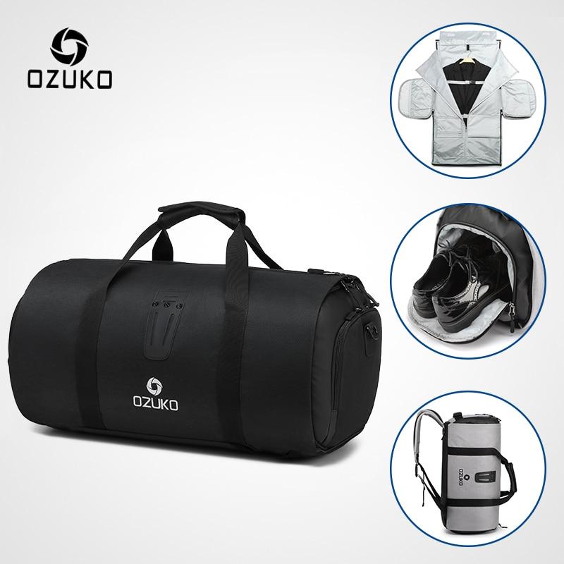 Многофункциональная дорожная сумка OZUKO, вместительная водонепроницаемая сумка для путешествий, сумка для путешествий, ручная сумка для багажа с сумкой для обуви