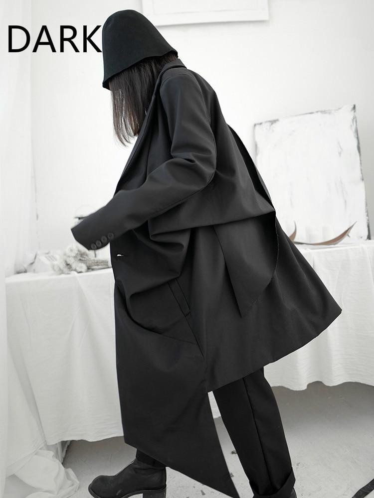 معطف طويل مقاوم للرياح من Yamamoto للربيع والخريف ، معطف نسائي طويل ، مقاوم للرياح ، قابل للطي ، داكن ، مصمم خاص ، فوق الركبة ، 2021
