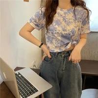 t shirts summer new women tie dye character basic casual short tops female o neck slim thin short sleeve loose tee t shirt femme