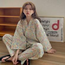 Women's Floral Pajamas Spring and Autumn Pure Cotton Korean Style Internet Hot Kimono Summer New Hom
