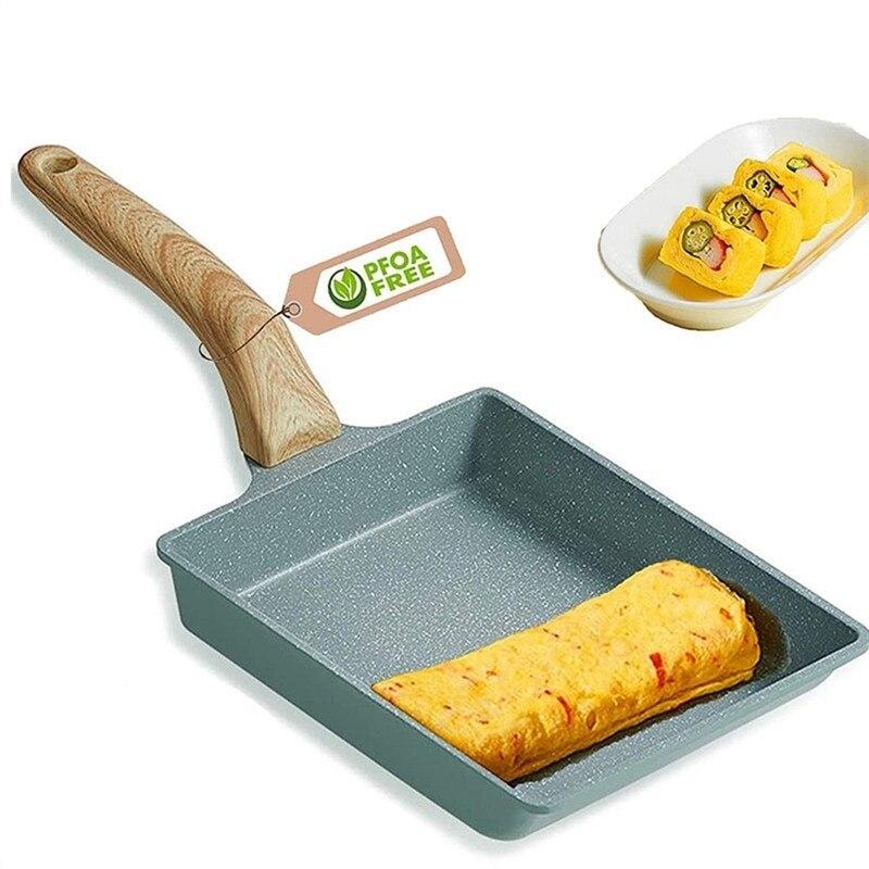 اومليت اليابانية غير لاصقة تاماغوياكي مربع لفة شريحة لحم سميكة فراي البيض عموم فطيرة المطبخ الإفطار وعاء الفطائر الصغيرة آلة