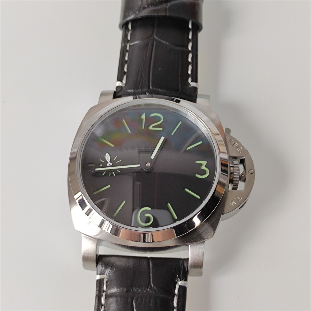 Reloj de hombre de 44 mm con cuerda manual, reloj mecánico con movimiento de esqueleto, caja de acero inoxidable, esfera estéril, reloj de correa de cuero 6497